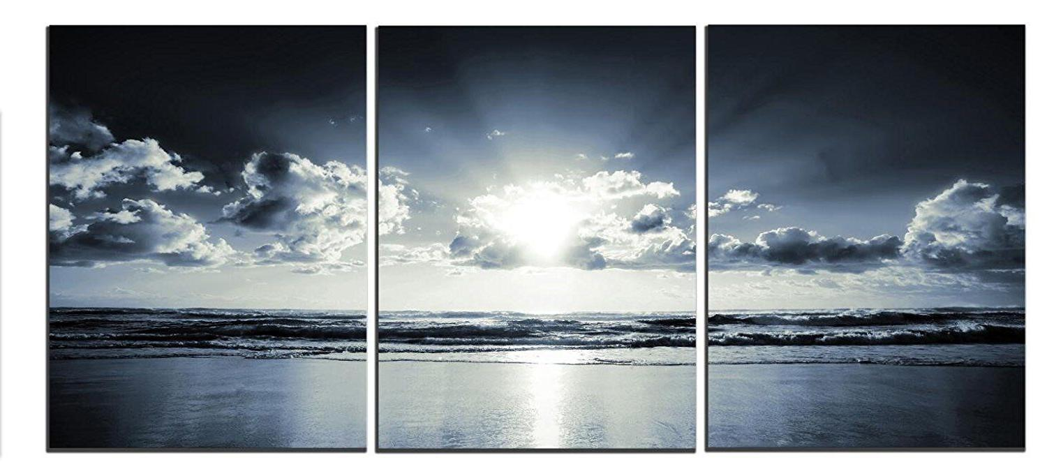 3 pcs black white blue sea sunset
