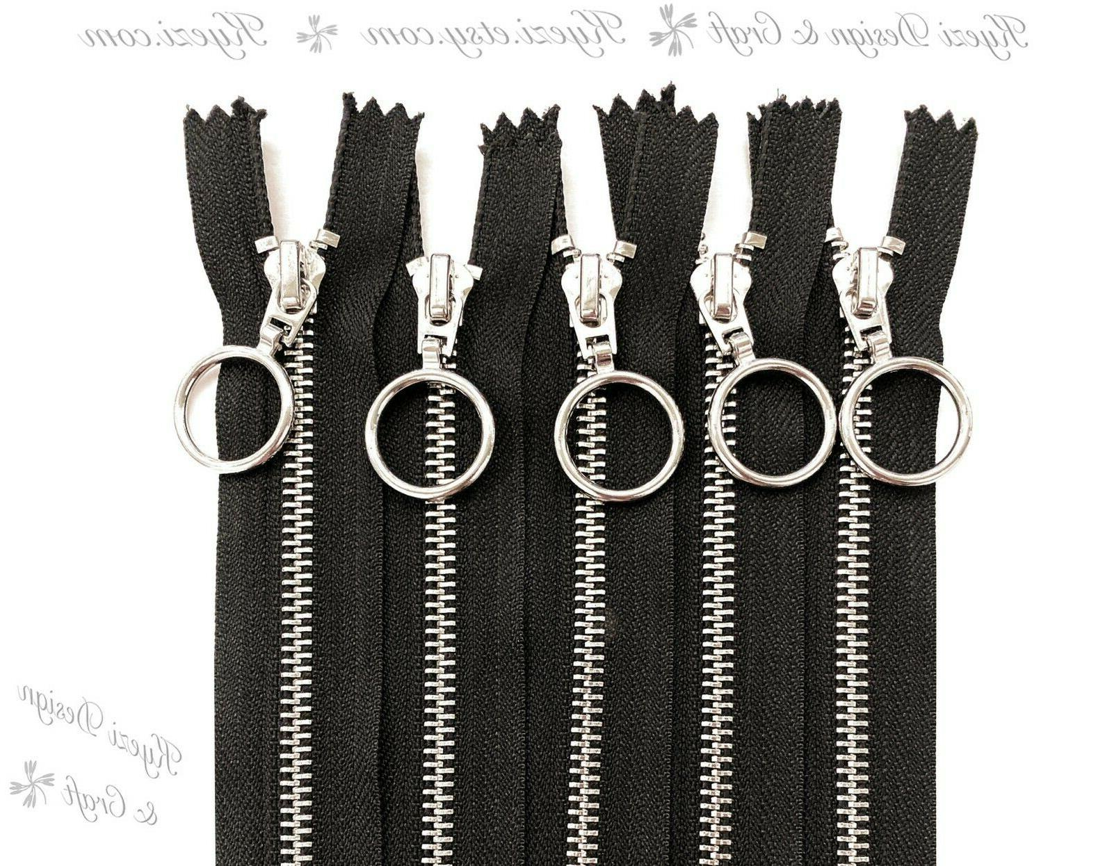 5 10 15 pcs 9 - Inch Silver Ring Zippers