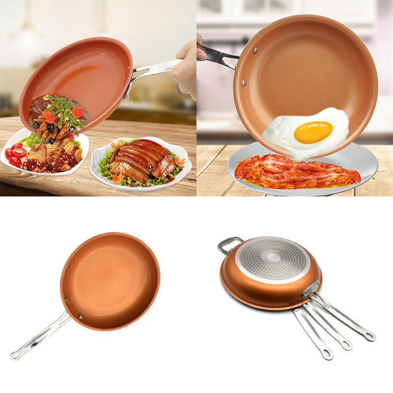 8/10/12inch Copper Pan Non-Stick Wok for Frying Baking Broil