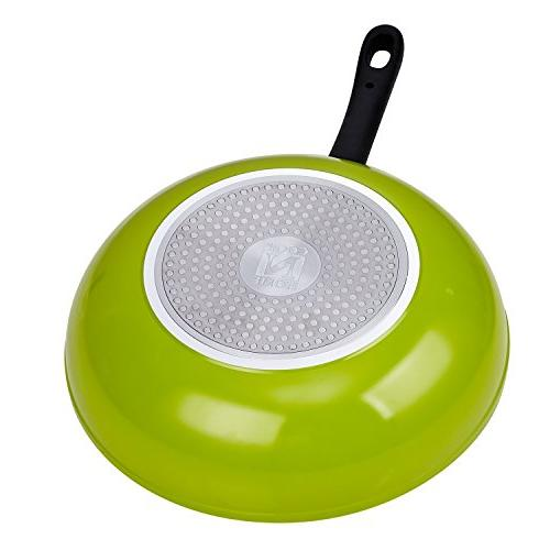 Cook N Home 12-Inch Nonstick Stir Pan, Green,
