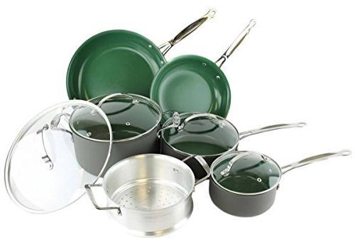 Orgreenic Ceramic Coated Non-Stick Cookware Set  by BulbHead
