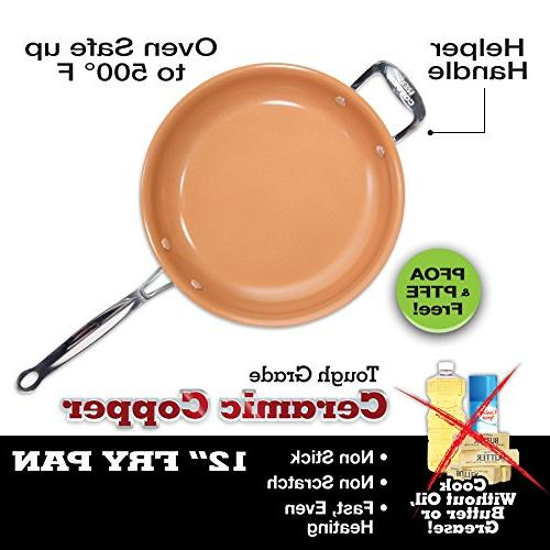 Red Copper Pan Copper Non-Stick Fry Pan Without PFOA PTFE Heat Resistant Stove To Oven Up To 500