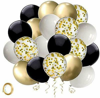 black and gold confetti balloons 50 pack