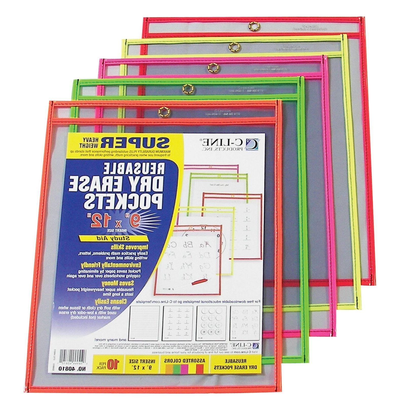 C-Line Reusable Dry Erase Pockets, 9 x 12 Inches, Assorted N