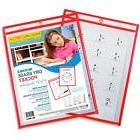 C-Line Reusable Dry Erase Pockets, 9 x 12 Inches, Red