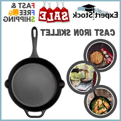 Exp Cast Iron Skillet Large Frying Pan Helper Handle Seasone