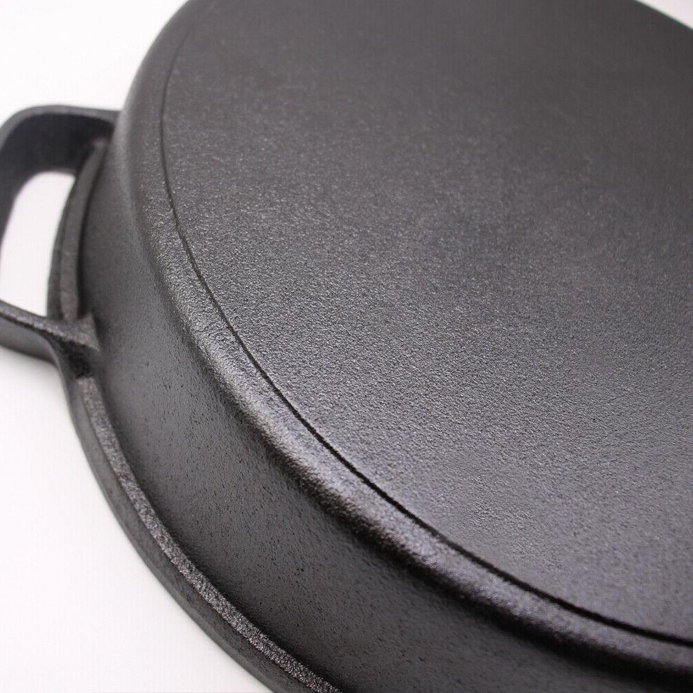 Cast Skillet Tempered Glass Lid Double Handled Deep Pan
