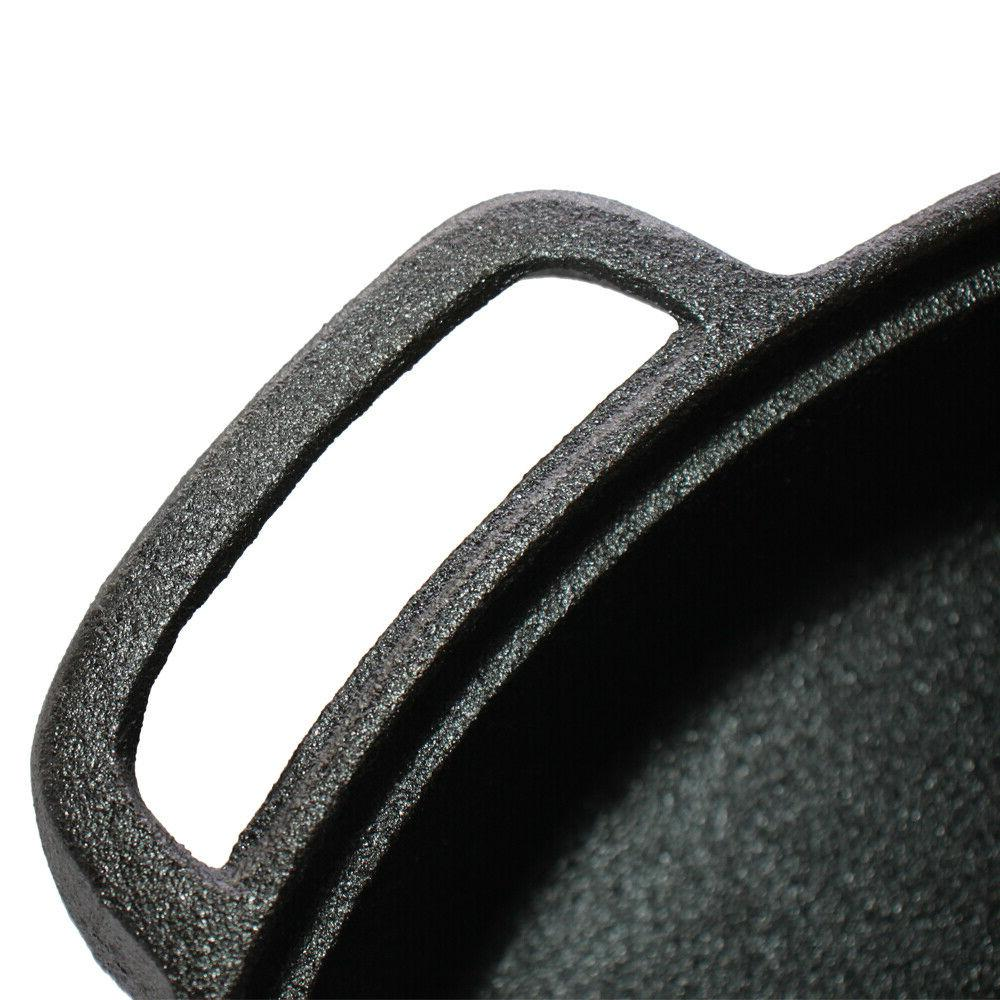 Cast Iron Skillet with Tempered Double Handled Pan