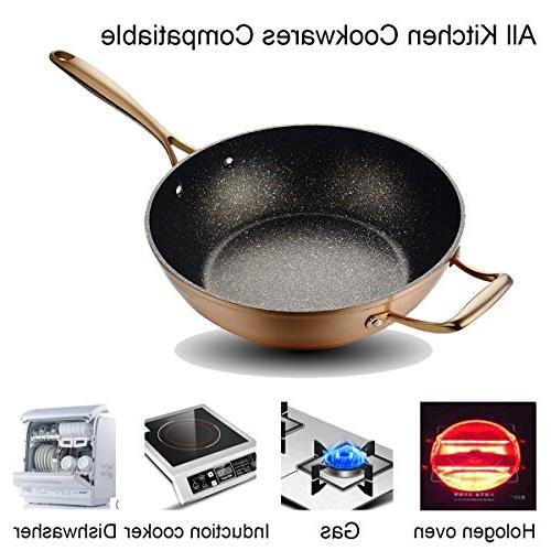 12 inches Wok Stir with Induction Safe,Copper