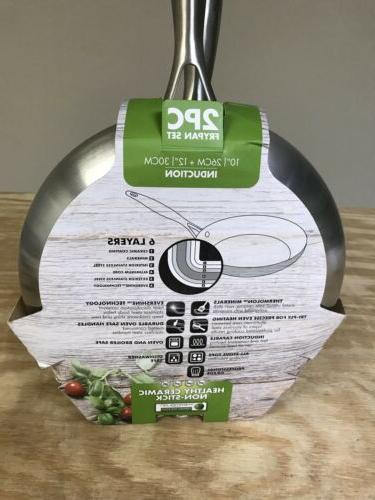 GreenPan Stainless Steel 10 12-Inch Set New