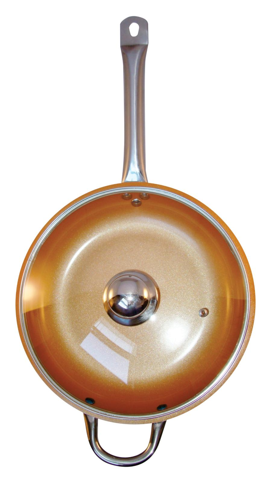 Copper Frying Pan 12 inches With Glass Lid Ceramic Infused N