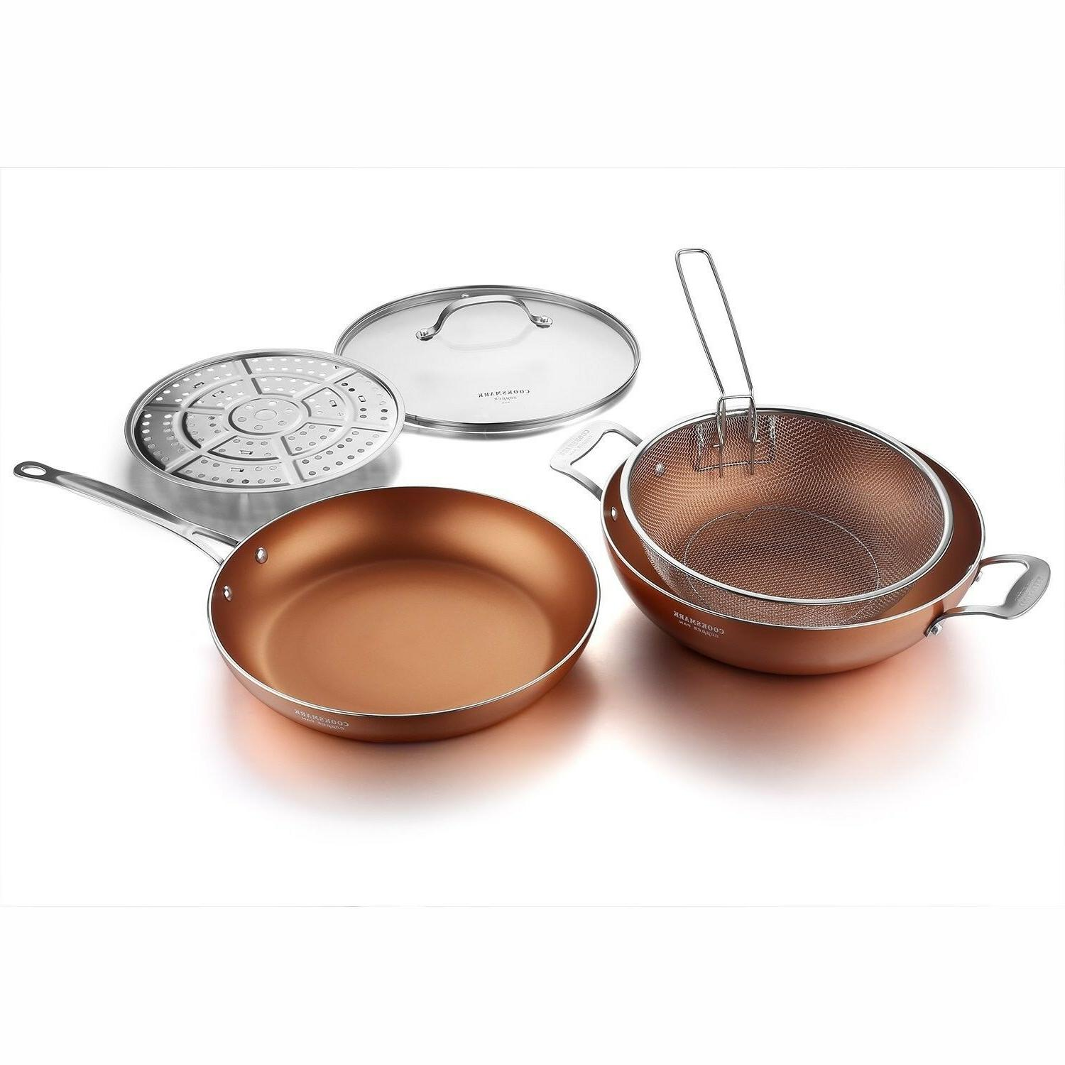 Copper Pan 12-Inch Induction Fry Pans Glass Lid
