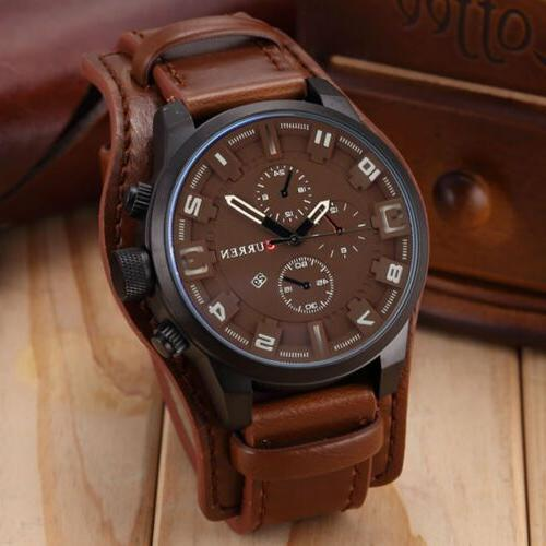 Fashion Curren  Men Date Stainless Steel Leather Analog Quar