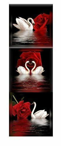 Framed White Swan Red Rose Flower Black 3 Panel Canvas Wall