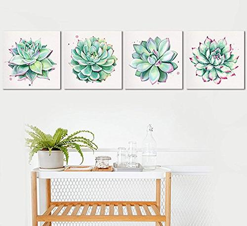 Home Canvas Prints 4 Watercolor Green Leaf Framed Pictures Room Kitchen