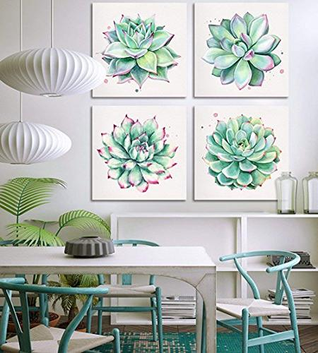 Home Canvas Prints 4 Pieces Watercolor Green Leaf Framed Pictures for Kitchen