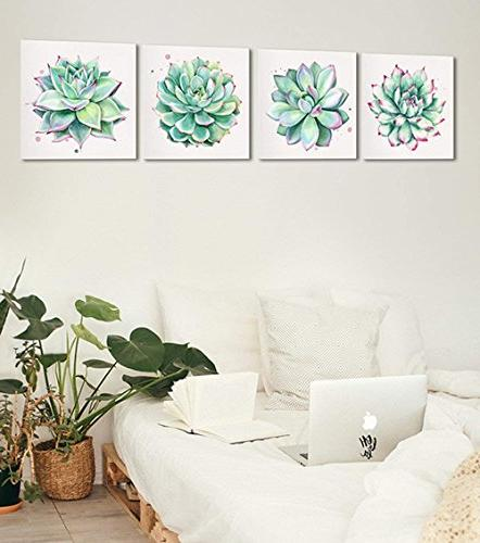 Home Wall Décor Succulent Plants Simple Canvas Oil Prints x 4 Pieces Watercolor Green Leaf Framed Pictures for Room Kitchen
