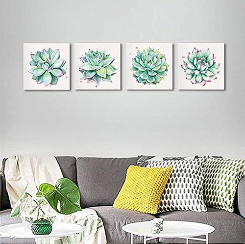 """Home Succulent Simple Canvas Oil Paintings Prints 12"""" 4 Pieces Watercolor Hand-Drawn Green Nature Pictures for Kitchen"""