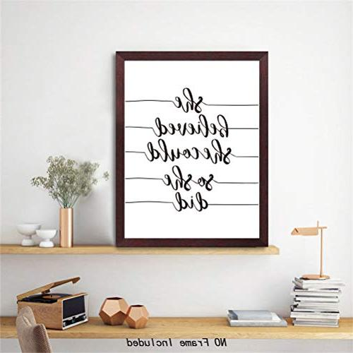 Inspirational Lettering & of Print Posters she Black White Words Printing,Great Gift for Classroom