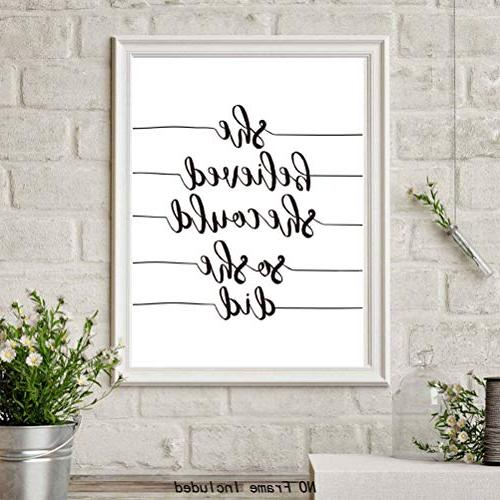 Inspirational Lettering Quotes & Pictures,Set Print Posters Believe White Words Printing,Great Gift Classroom