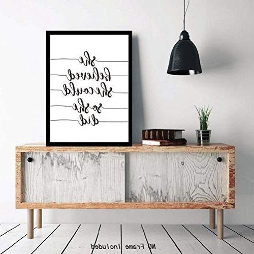 "Inspirational Quotes Art & Pictures,Set of Print 12""x16"" UNFRAMED,She Believe she she did Black White Words Printing,Great Gift Classroom"