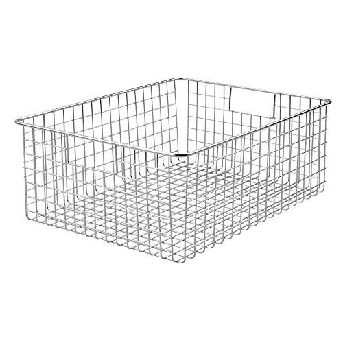 Wire Bin Baskets with for Pantry, Bathroom, Laundry Room, Closets, Garage - 2 Pack - Chrome