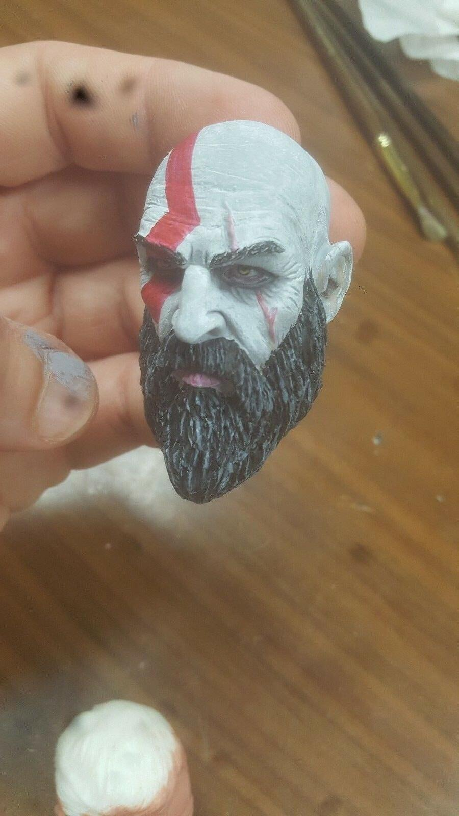Kratos God of war painted head for inch