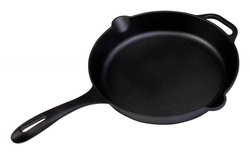 Large Iron Skillet by Victoria, 12-inch Round Frying