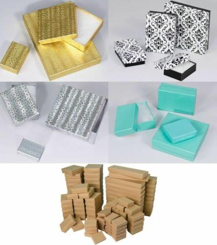 LOT OF 10,20,50,100 PCS COTTON FILLED JEWELRY BOX NECKLACE B
