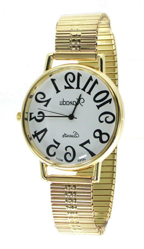 Men's Super Large Face Stretch Band Easy to Read Watch