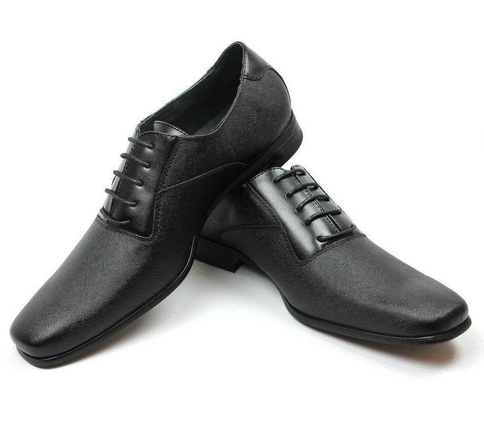 New Mens Ferro Aldo Black Herringbone Dress Shoes Leather Sn