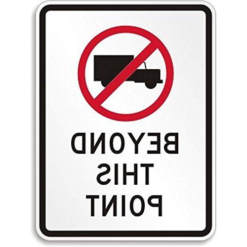 no truck graphic beyond this point sign