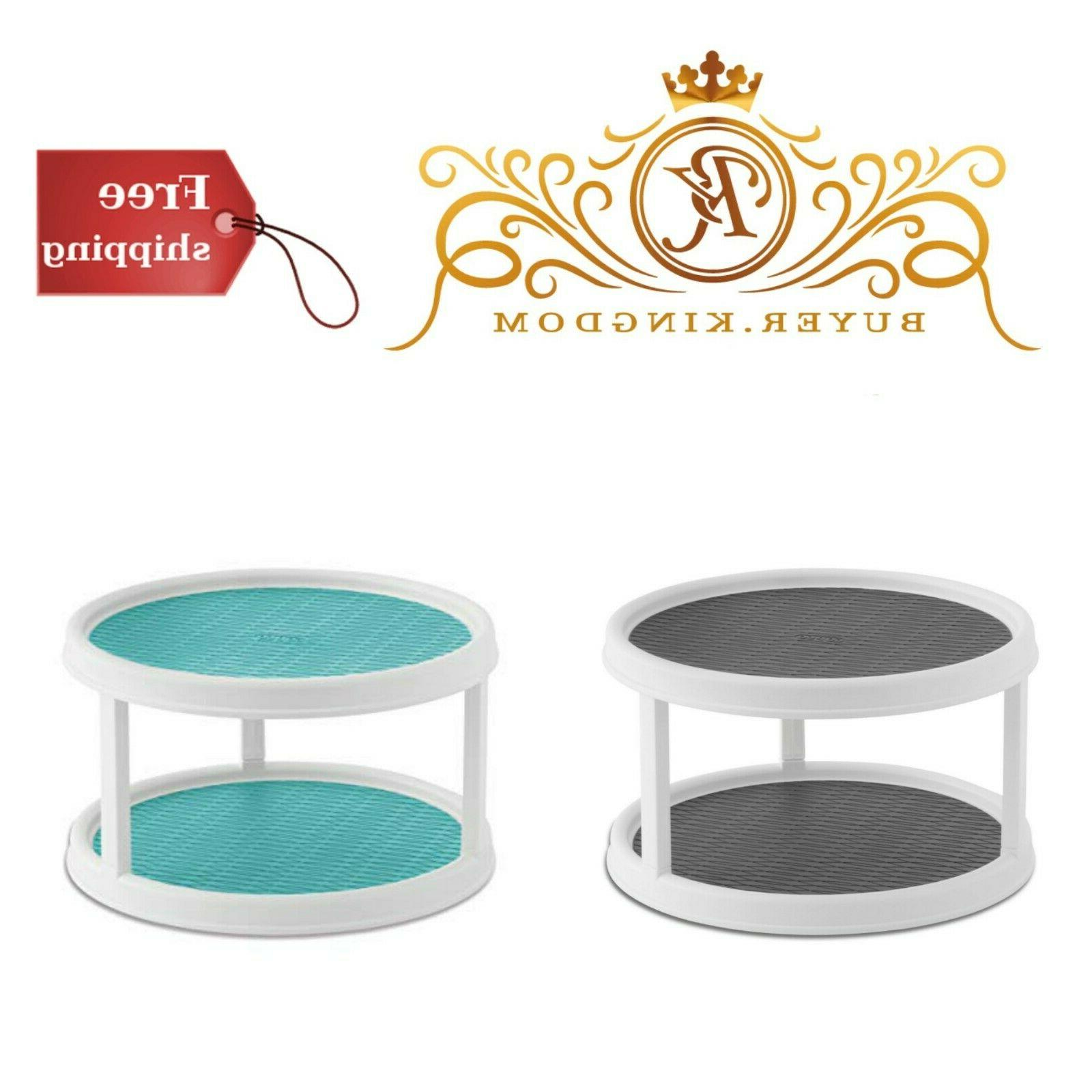 non skid 2 tier pantry cabinet turntable