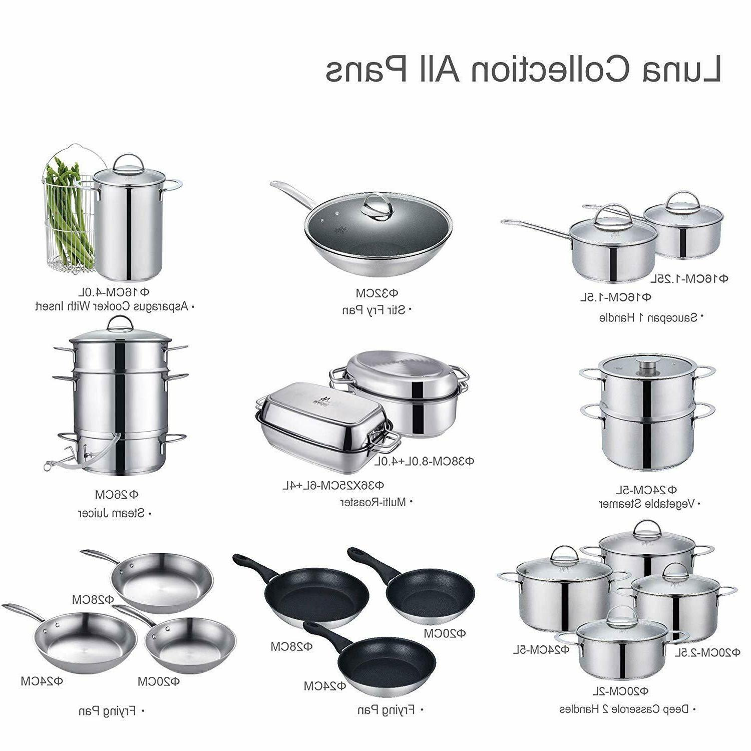 Nonstick 18/10 Stainless 12-inch with Lid Dishwashe
