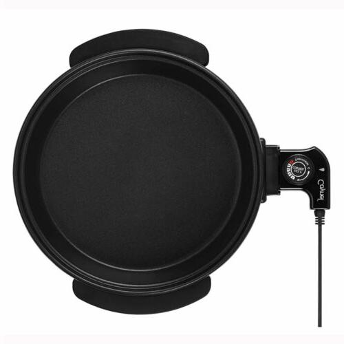 Electric Skillet Round Frying Aluminum Body