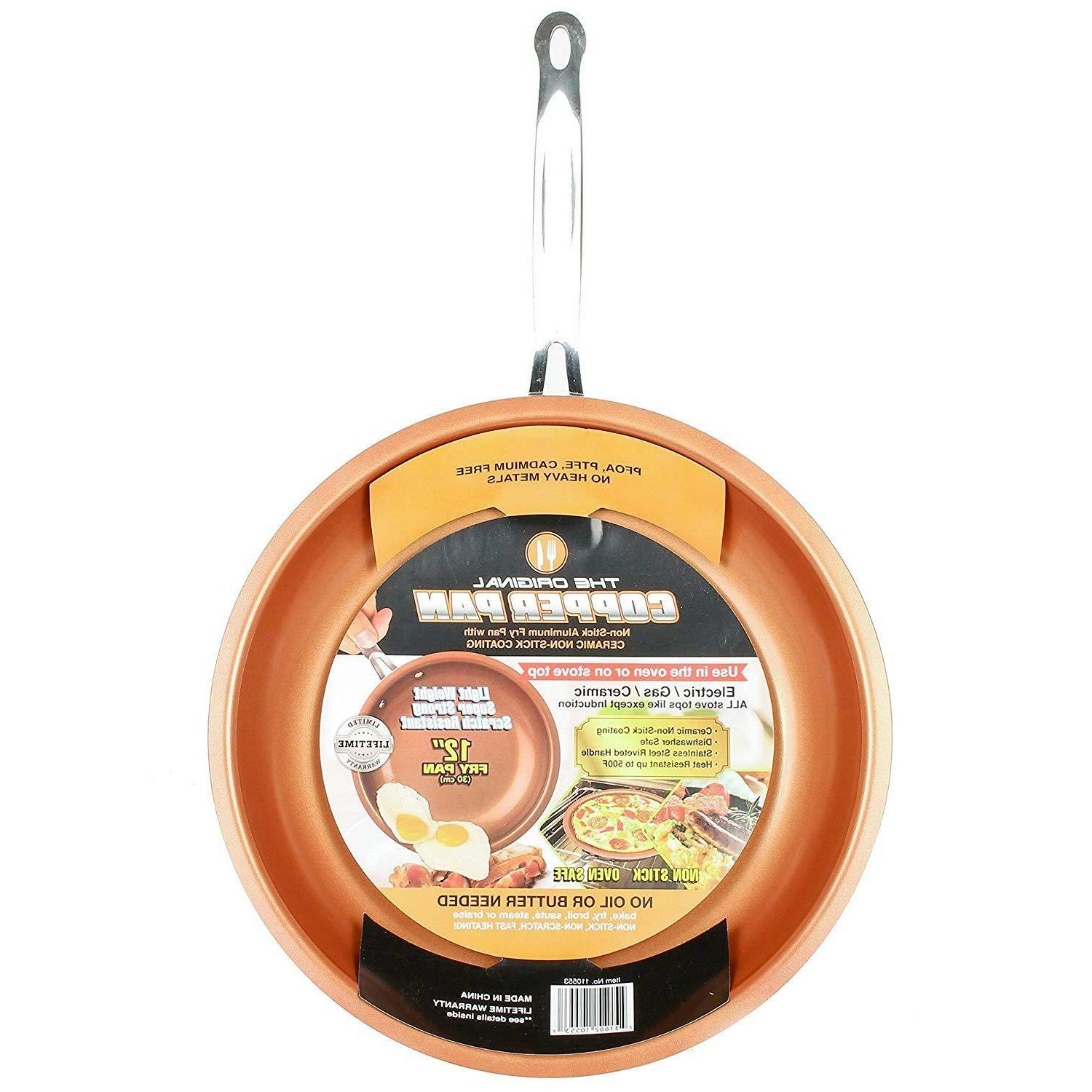 round nonstick fry pan 12 in copper