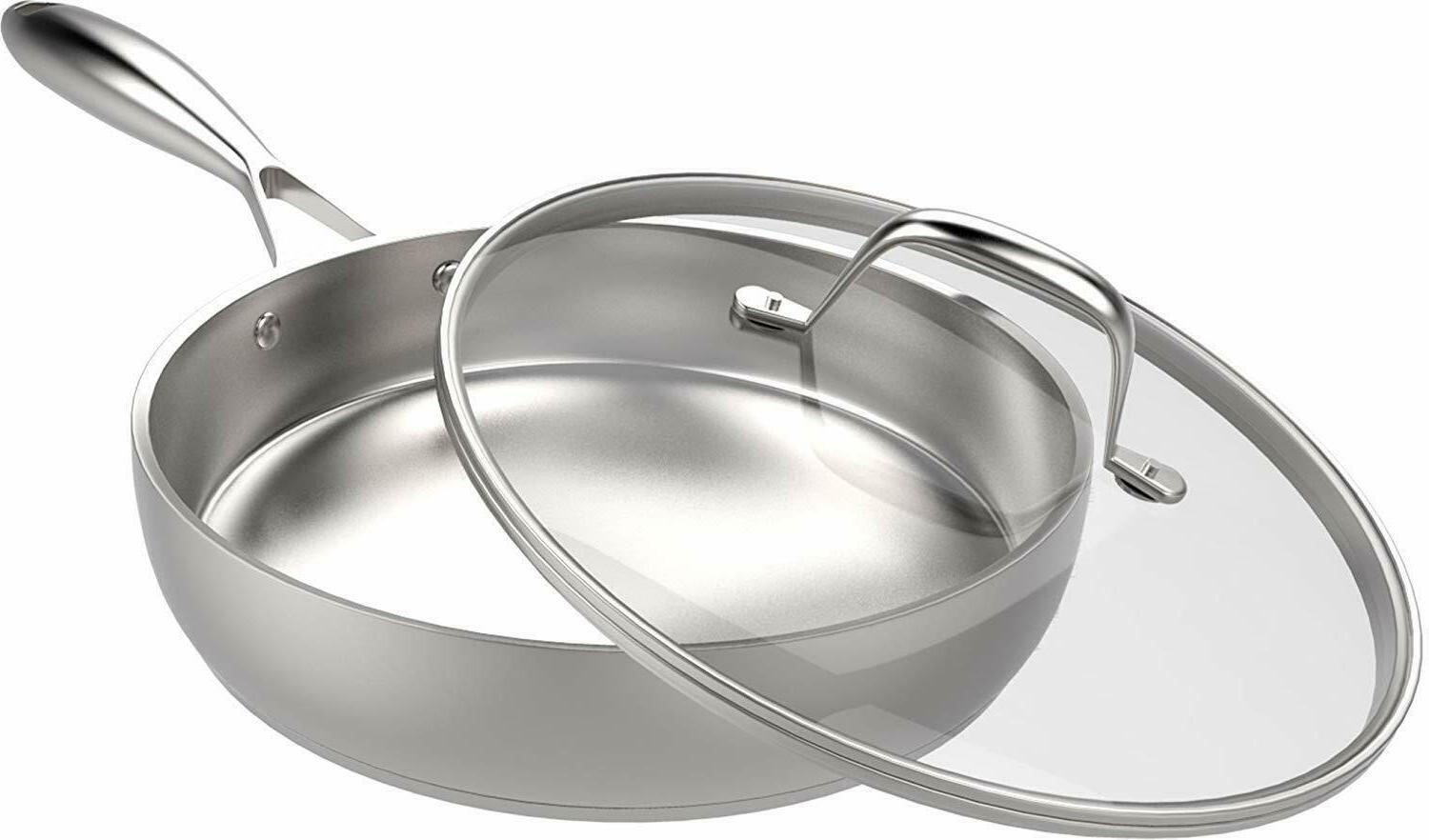 Stainless Skillet Lid Pan Cookware