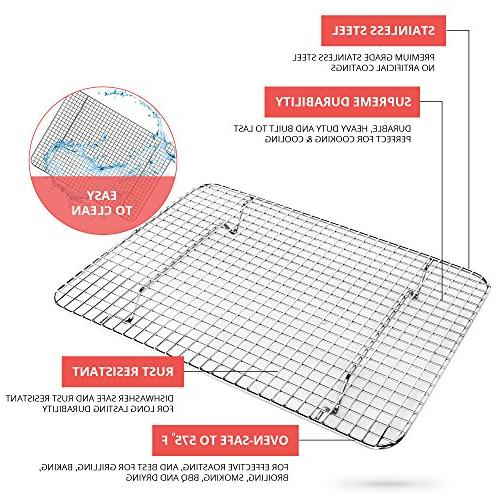 KITCHENATICS Wire Cooling and Rack Quarter Sheet Safe, Heavy Duty for Drying,