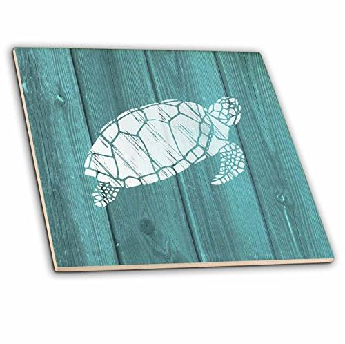 turtle stencil white over teal
