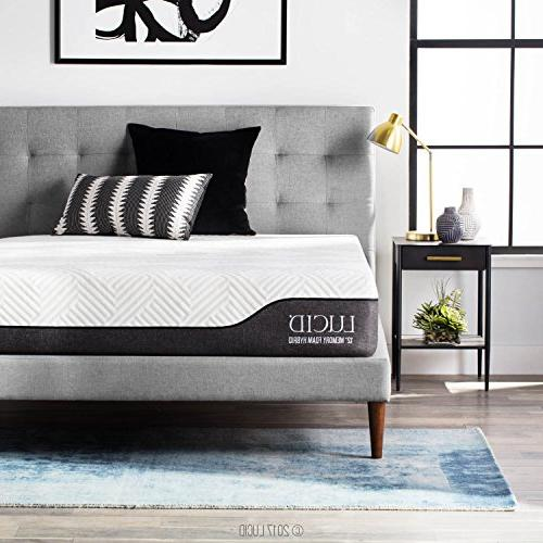 LUCID Inch Hybrid Mattress Charcoal and Vera Infused Memory Foam CertiPUR-US Certified