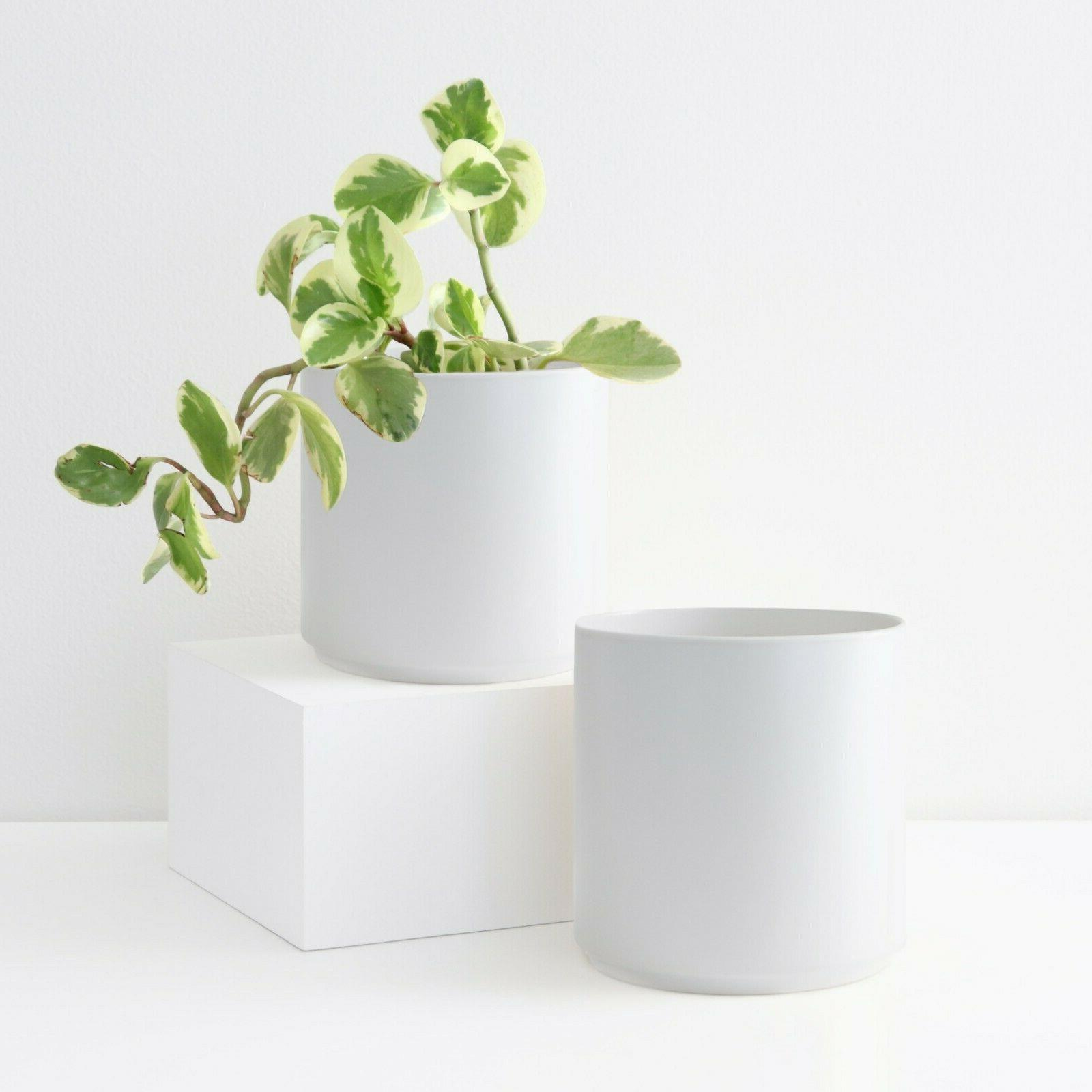 White Ceramic Plant Cylinder - Large Indoor/Outdoor in 5