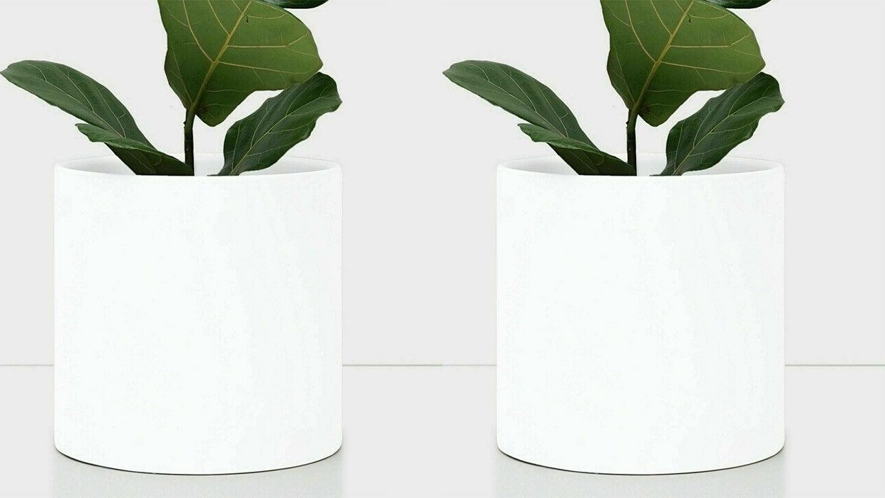 White Ceramic Plant Pot Cylinder - Planter Indoor/Outdoor Sizes