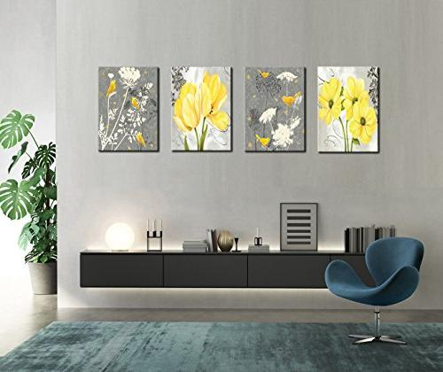 Yellow Flower Birds Art Abstract Floral Print Home 4 Panels Poster Living Room Office Photo Ready to Hang