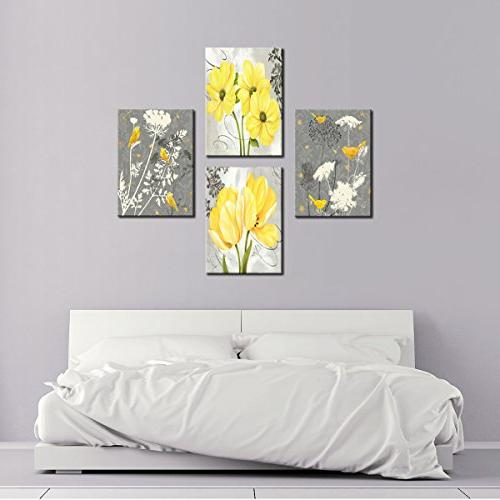 Yellow Grey Flower Wall Abstract Home Pictures Panels Poster Living Office Painting Photo Framed to Hang
