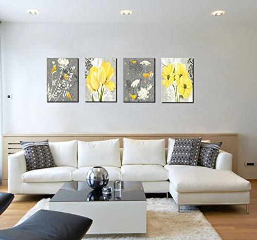 Yellow Gray Flower Birds Wall Abstract Floral Canvas Home Decor Panels Poster for Bedroom Photo Hang