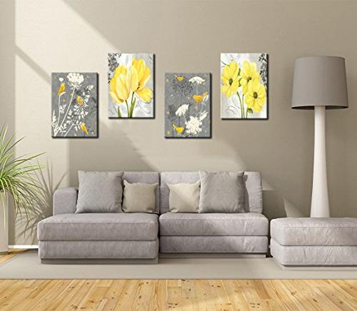 Yellow Gray Flower Birds Home Decor Pictures Panels Poster Bedroom Living Room Photo Framed to Hang