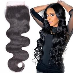 "Lace Closure Brazilian Human Hair Body Wave 8"" Free Part  wi"