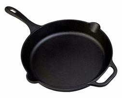 Large Pre Seasoned Cast Iron Skillet 12 Inch Round Frying Pa