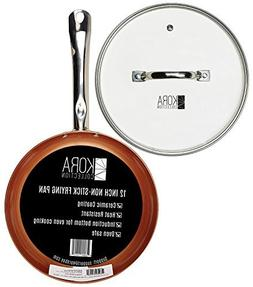 Largest Non Stick Round Copper Frying Pan with Lid | 12 inch