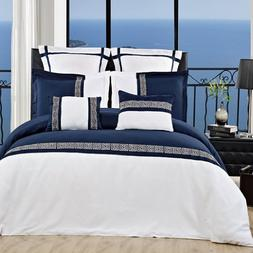 LUXURIOUS Astrid Navy & White Embroidered 12 Piece  Queen Si